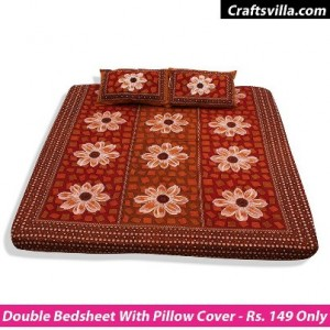 a62f26f635b Double Bed Sheet with Two Pillow Covers Rs. 149 – CraftsVilla
