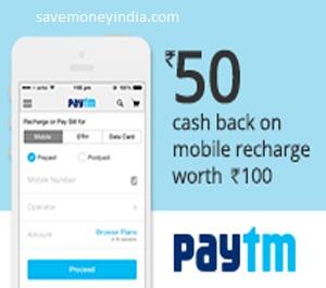 Mobile Recharge Rs  50 Cashback on Rs  100 – PayTm | SaveMoneyIndia