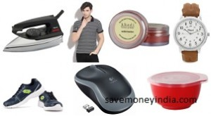 d2c6eb8c809 Pigeon Iron Rs. 299 • Men s T-Shirts Rs. 298 • Lotto Men s Sports Shoes Rs.  899 • Watches upto 75% off from Rs. 275