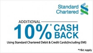 39326ca1e  Standard Chartered Debit   Credit Cards  SnapDeal 10% Cashback on Purchase  of Rs. 4000