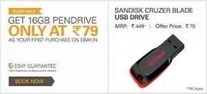 b6918462b10 16GB SanDisk Cruzer Blade Pen Drive Rs. 79 – eBay. 4 years ago 672. ebay -sandisk79