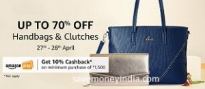 84968634769720 Handbags & Clutches 50% off or more + 10% Cashback on Rs. 1500 ...